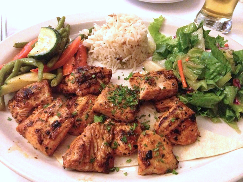 Chicken Kebab, tender cubes of chicken marinated in our special sauce and grilled on skewers